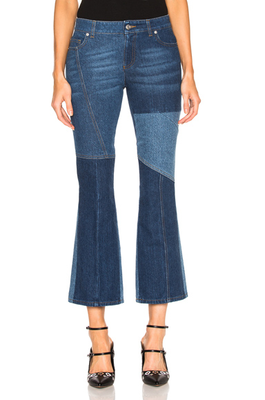 Patchwork Cropped Flare Jeans