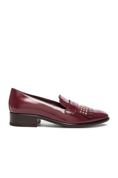 Stud Fringe Leather Loafers