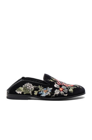 Embroidered Velvet Flats