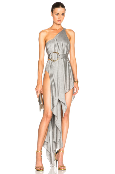 Double Ring Draped One Strap Gown