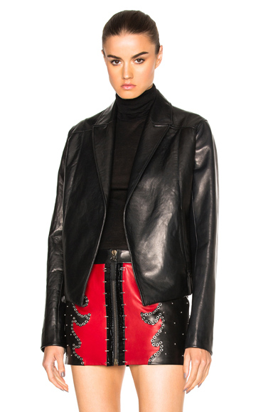 Cropped Gathered Back Leather Blazer