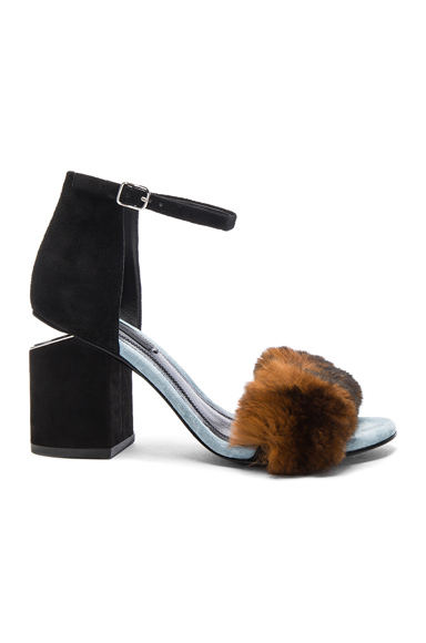 Suede & Rabbit Fur Abby Heels