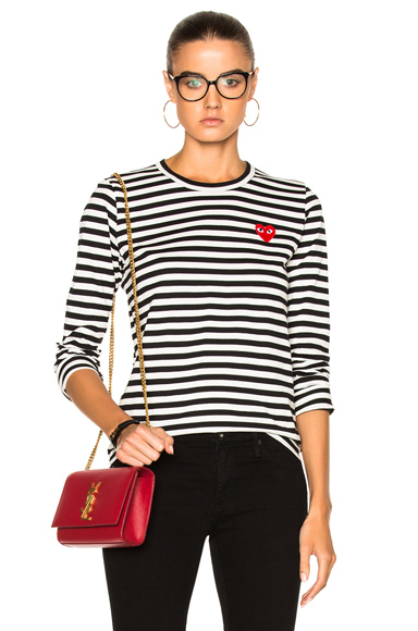 Cotton Red Emblem Stripe Tee