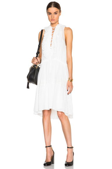 Embroidered Cotton Voile Lace Up Front Dress
