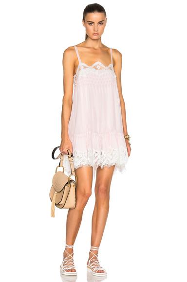 Smocked Georgette & Lace Dress
