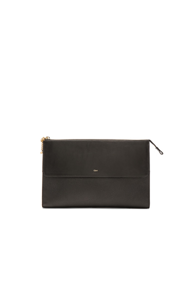 Grained Leather Flat Pouch