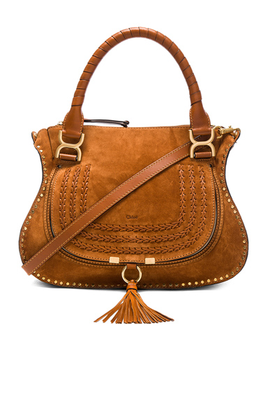 Medium Suede & Leather Marcie Satchel