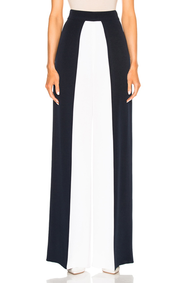 Color Blocked High Waisted Wide Leg Silk Pant