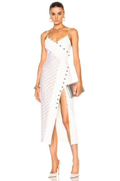 Macrame Asymmetrical Insert Loops & Metal Balls V-Cut Dress