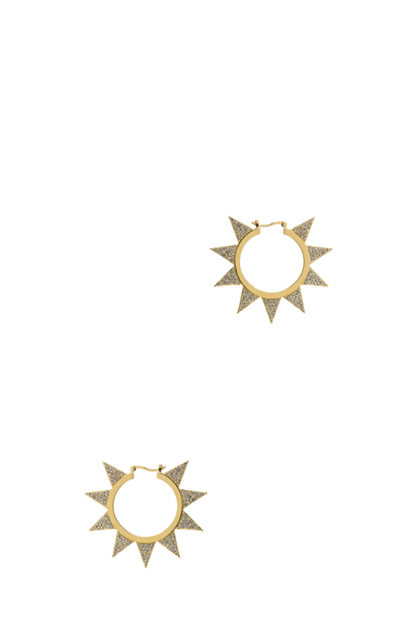 Pave Flat Brass Triangle Hoops
