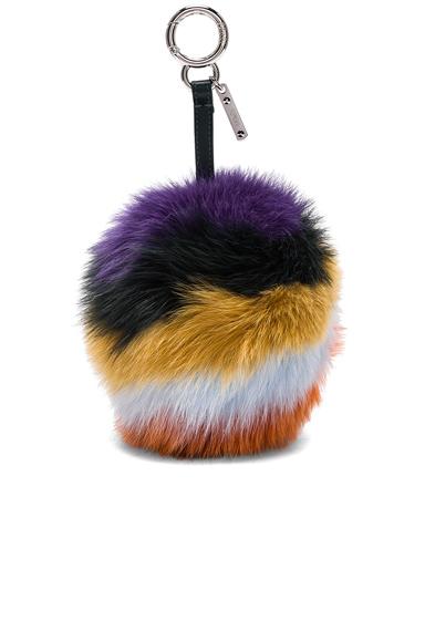 Rainbow Fox Fur Pom Pom Charm