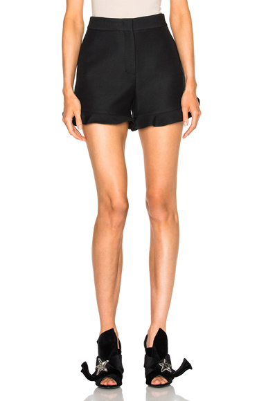 Light Wool Silk Gazar Ruffle Shorts