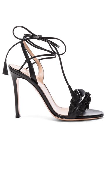 Leather Ruffle Heels