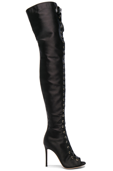 Satin Marie Lace Up Boots
