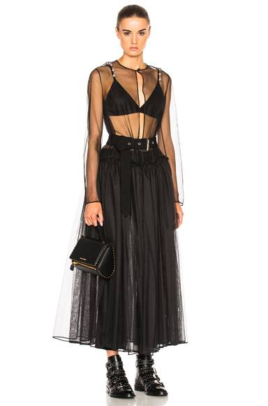 Technical Tulle Dress With Belt