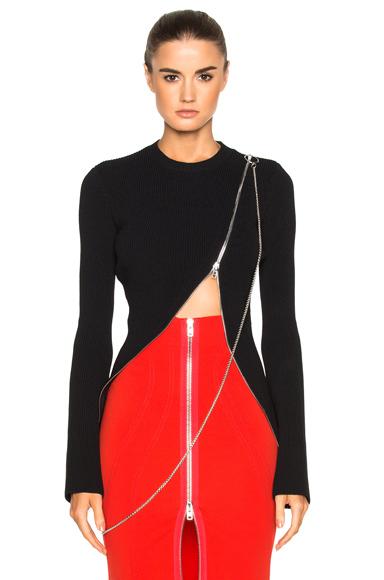 Bell Sleeve Zip Detail Sweater