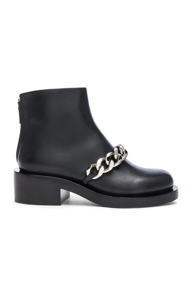 Leather Laura Silver Chain Ankle Boots