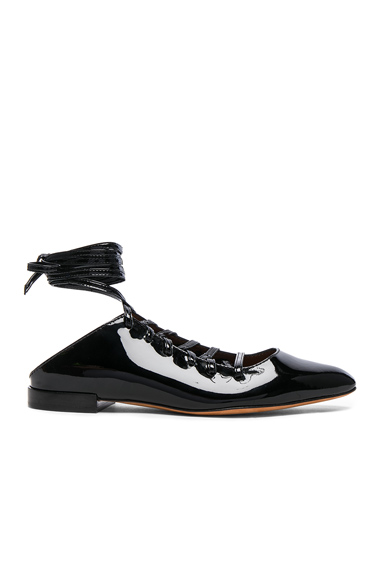 Patent Leather Lace Up Mules
