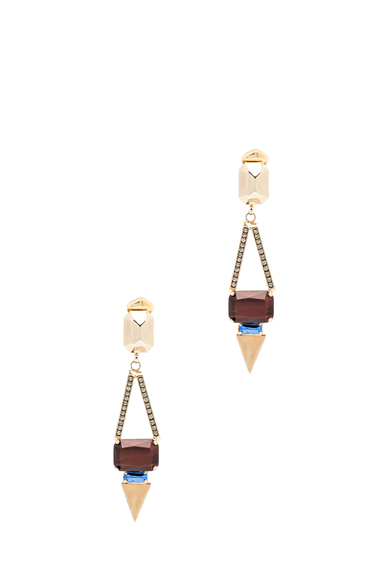 Tiger Eye Antique Brass Clip Earrings
