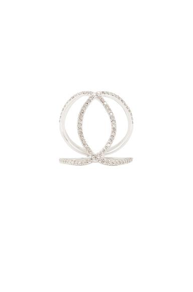 14K Pave Overlap Circle Ring