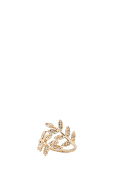 14K Pave Leaves Wrap Ring