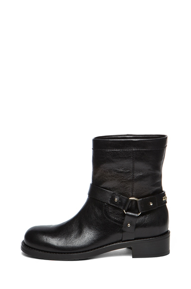 Dixie Shiny Calfskin Leather Flat Ankle Boot