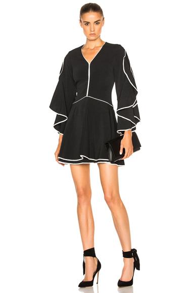 Ruffle Sleeve Combo Dress