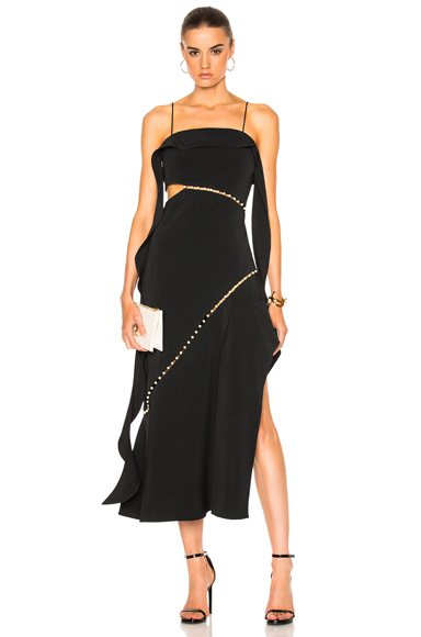 for FWRD Pearl Studded Strapless Dress