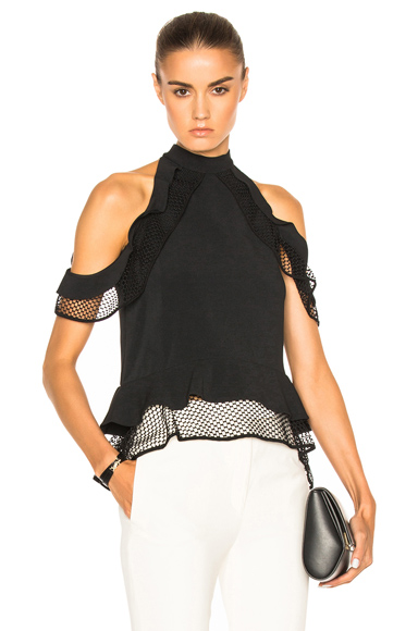 Window Pane Lace Cold Shoulder Top