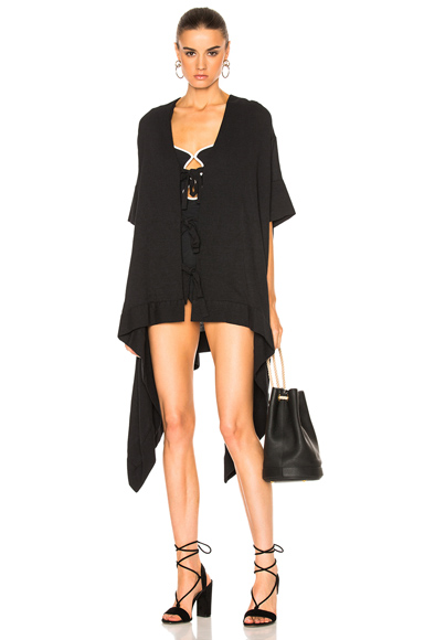 Mesh Tie-Front Caftan Cover-Up