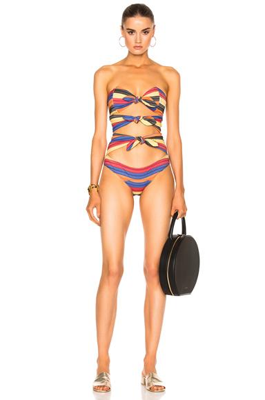 Triple Poppy Striped Swimsuit
