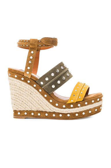 Studded Suede Wedge Sandals