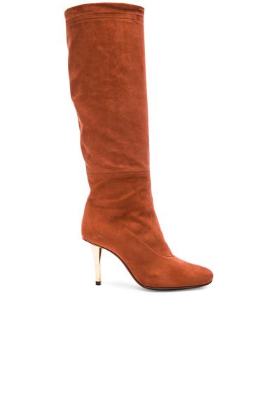 Draped Nubuck Calfskin Boots