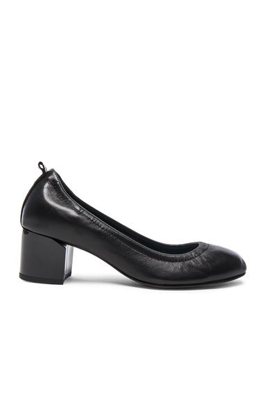 Leather Ballerina Cube Heels