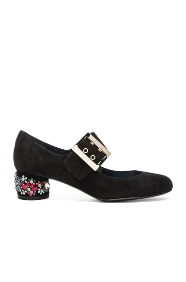 Embroidered Suede Mary Jane Pumps