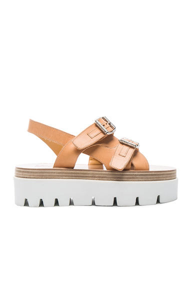 Platform Buckled Leather Sandals