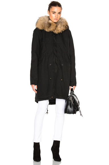 Army Parka Jacket With Raccoon Fur