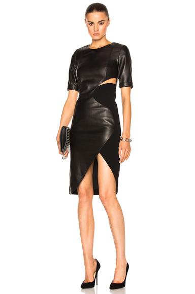 Soft Leather & Technical Cady Dress
