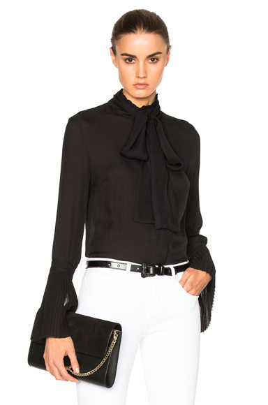 Pussybow Pleat Cuff Top