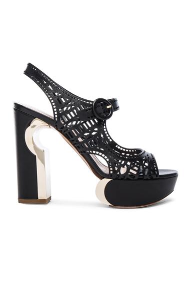 Leather Mary Jane Eyelet Heels