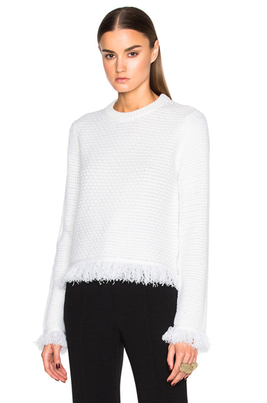 Wool & Cotton Stitch Crewneck Sweater