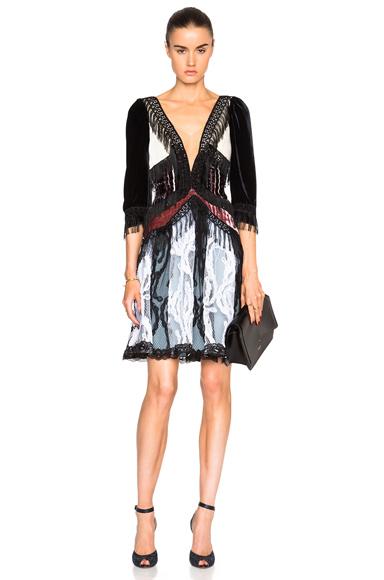 Paisley Silk Velvet Dress