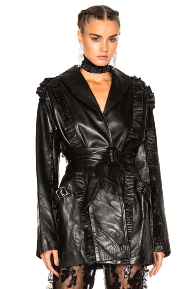Ruffle Leather Wrap Jacket