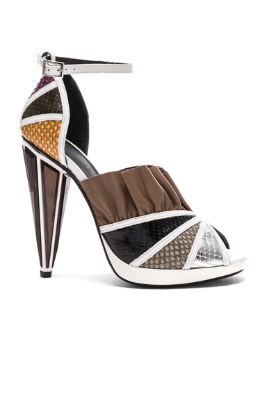 Embossed Metallic Leather Strap Heels