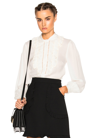 Collared Ruffle Top