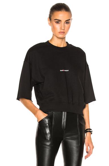 Cropped Short Sleeve Logo Sweatshirt