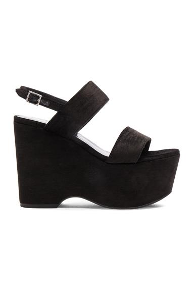 Candy Flatform Textured Velour Studded Sandals