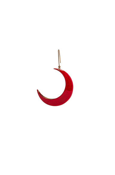 Brass and Enamel Moon Single Earring