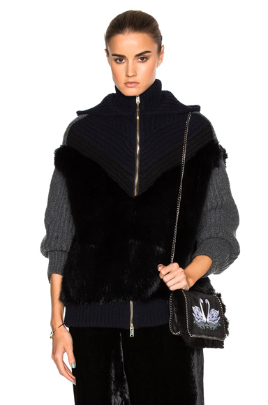 Faux Fur Knit Jacket
