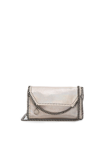Falabella Holographic Chamois Fold Over Crossbody